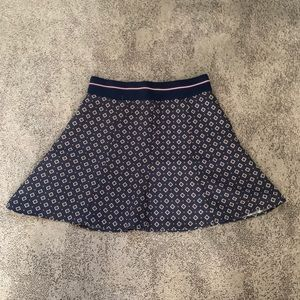 Zara | Patterned Mini Skirt with Striped Waistband
